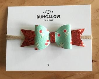 Cherries and Red Glitter Bow Headband // Hair Clip // Cherry Bow // Glitter Bow // Photo Prop // Baby Headband // Mini Bow