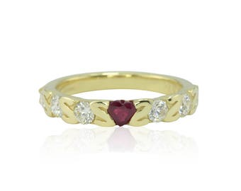 "Custom Order Link for bdancerr - Heart cut Ruby and Diamond ""Z"" Band in 18k Yellow Gold"