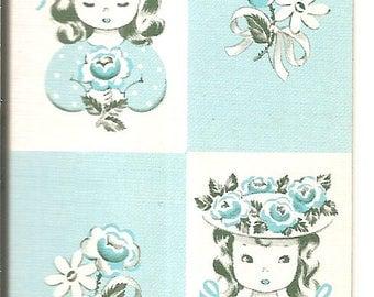 Vintage 20's-40's Play Card - Single SWAP Trading Card  -  Little Bonet Girl Flowers Posies Blue - Ace Clubs ID 101