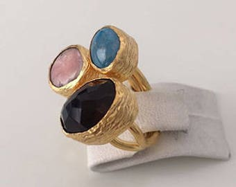 Triple Gold platedTurquoise,T Pink Opal, Smokey Quartz  ring