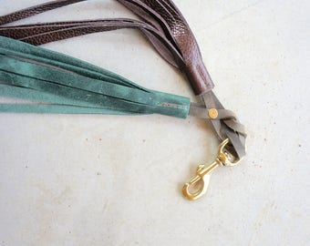 NEW/// Solid Brass////Braided Double Fringe Clip///Leather Tassel///Keychain in Leather//Key Fob