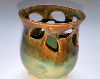 Green and Amber Votive Candle Holder or Luminary with Vine Leaf Cut-outs  -  Wheel Thrown Pottery
