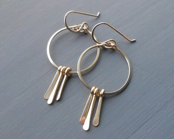 Gold Filled Dangle Fringe Earrings