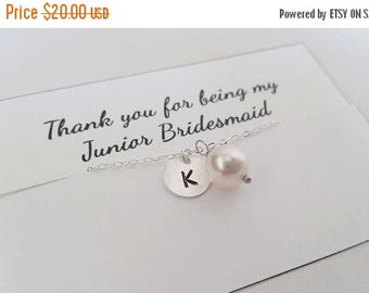 ON-SALE Custom Initial and Swarovski Pearl Necklace -  Flower Girl Gift, Junior Bridesmaid Gift, Wedding Jewelry, Bridal Party Gift