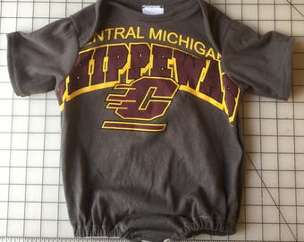 Upcycled Central Michigan Chippewas Tee Turned Into A 12 to 18 Month Baby Onesie