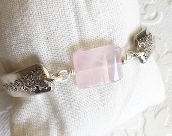 Pink Quartz Spoon Handle Bracelet
