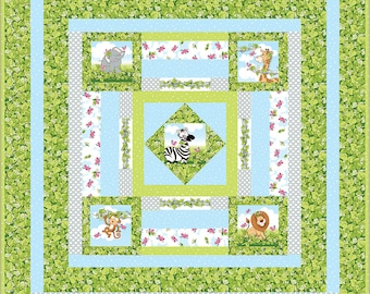 Baby Quilt with Jungle Animals - Pattern and Fabric Panel Set