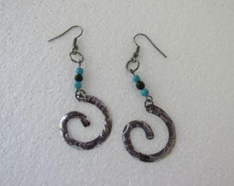 BOHO  Spiral Cut Metal Beaded Earring Textured