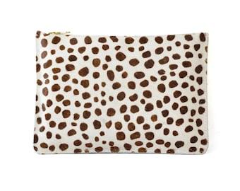 Coralie - Handmade Cheetah Animal Print Hair On Hide Leather Clutch Bag Zip Pouch Purse SS18