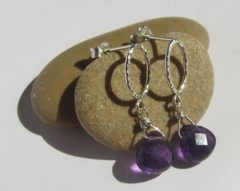 Amethyst Earrings, February Birthstone, Dainty Purple Earrings, Stone Silver Purple, Amethyst Studs Silver, Amethyst Boho Studs