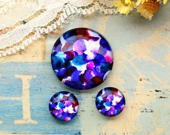 SALE - 30% OFF Purple Flowers Glass Domes, 8mm 10mm 12mm 14mm 16mm 18mm 20mm 25mm 30mm Photo Glass Cabochons  - RCH010M