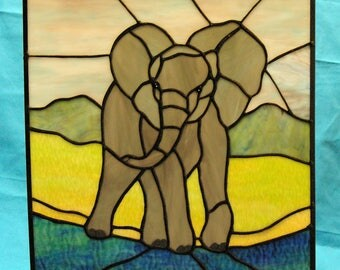 Stained Glass African Elephant Suncatcher panel