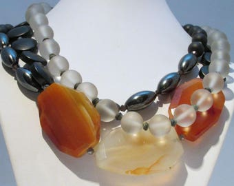 Agate triple strand necklace