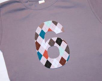 Boys 6th Birthday Shirt with Argyle Number 6 - short sleeve gray orange aqua