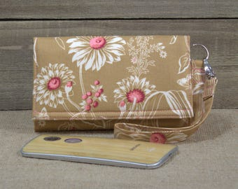 Smartphone Wallet Wristlet, Cell Phone Smart Wallet Wristlet, iPhone 6 6s Plus, Nexus Moto X Pure Galaxy Wallet / Wildflowers in Tan Coral