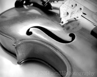 50% OFF SALE Black and White Photograph, Violin Photo, Music Art, Musical Instrument, Grey, Black, White, 5x5 inch Fine Art Photograph - In
