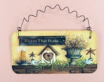 PRIMITIVE SIGN Bless This Home Cute Metal House Decor Country Folk Art Faux Painting