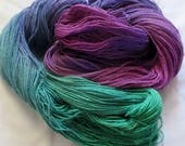 Handpainted Yarn - 4/2 Soft Cotton Yarn  MERMAID - 420 yds