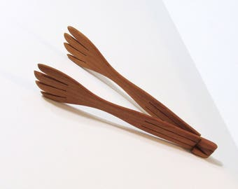 Salad Tongs Made From Cherry Wood