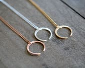 Crescent Moon Open Circle Necklace , Upside Down Moon in Gold , Rose Gold , Sterling Silver , Layering Fashion - Tilt