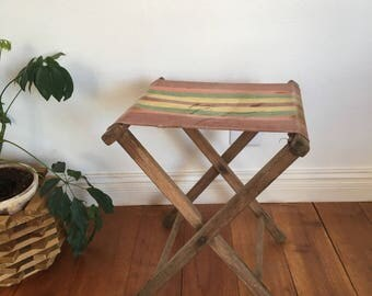 Vintage Folding Camp Stool :  Wood Stool, Striped Canvas Cloth Seat, Guest Room Accessory