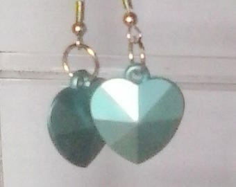 Blue Faceted Puffed Heart Earrings