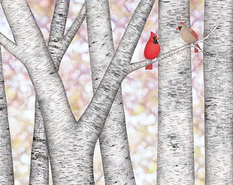 cardinals and birch trees - signed art print 8X10 inches by Sarah Knight, red beige birds birches bokeh mauve white gray neutral colors