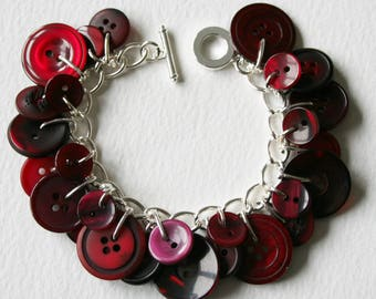 Button Bracelet Deep Wine Red Mix