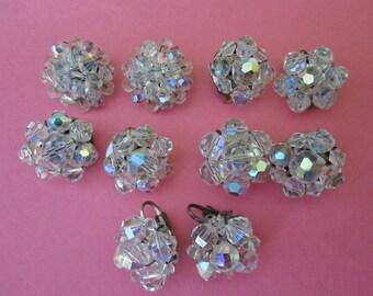 DeStash 5 Pairs Clip Earrings aurora borealis crystal earrings