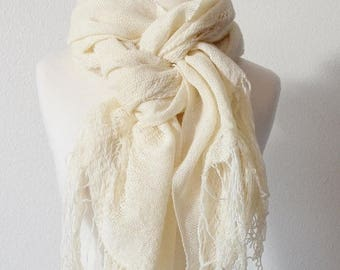 First Fall Sale - 15% Off Gossamer Woven Wrap In Natural White - Handmade Handwoven Tatterpunk Morigirl Boho Fashion Scarf in Luxury Silk/Wo