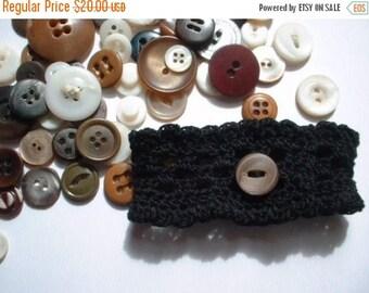 First Fall Sale - 15% Off Wristlet no. 53, black cotton ruffled lace cuff