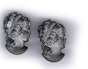 vintage cameo cabochons deep pewter color, TWO CAMEO vintage face cameos glass cameos gray cameos