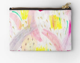 artist designed carry all pouch- cute affordable bridesmaid gift- holiday gift idea-modern abstract pastel doodles-make up bag-cosmetic bag