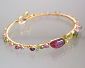 Tourmaline Bracelet, Hand Wrought 14k Gold Filled Bracelet, Stackable Gemstone Bangle with Vesuvianite, Sapphires, Garnet, Artisan Made