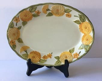 Oval Serving Platter 11 Inch Sculptured Zinnia PoppyTrail by Metlox Oblong Asparagus Plate 1960's Orange and Yellow Floral