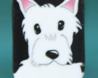WESTIE Small Polymer Clay Dog Cane -'Puppy Love' (36B)