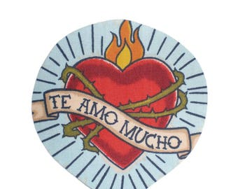 Sacred Heart Mexican Art Iron On Patch Applique DIY No Sew