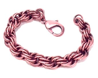 Mobius weave copper chain mail bracelet