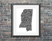 Mississippi map art typog...