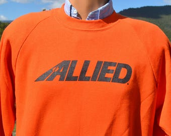 vintage 80s sweatshirt raglan ALLIED moving company new with tags nwt XL Large orange