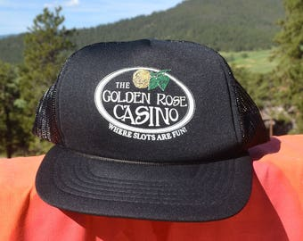 80s vintage trucker hat GOLDEN ROSE casino slots fun mesh snapback black baseball cap colorado
