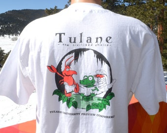vintage 80s t-shirt TULANE university admissions jungle out there neon tee XL Large new orleans