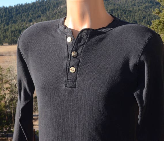 80s vintage shirt HENLEY undershirt river drivers black thermal long johns ribbed Medium Small preppy