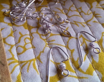 5 pairs Sterling Silver Filled 21 Guage Angle balanced Ear Wires  Great jewelry Supplies