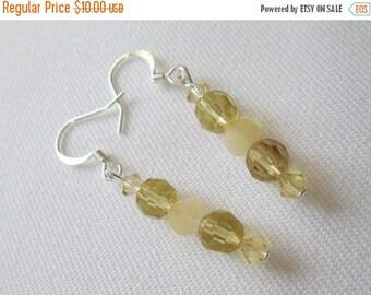 ON SALE Yellow Quartz, Czech Glass, and Swarovski Crystal Earrings
