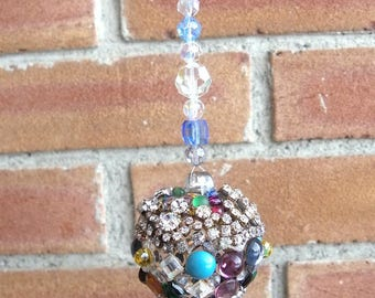 Jeweled Glass Crystal Ball~Rhinestone Suncatcher~Mixed Media Glass Sphere~Vintage Costume Jewelry Orb~Crystal Prism Suncatcher~Friend Gift