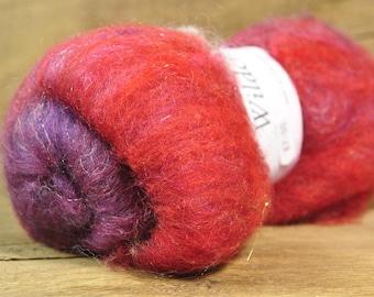 Carded Wool/Luxury Fibre Batt 50g - 'Sanguine'