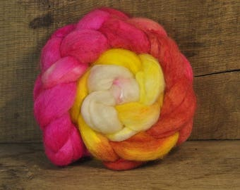 BFL Wool / Sparkly Nylon Top - 'Peach Melba'
