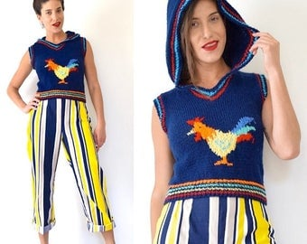 SUMMER SALE/ 30% off Vintage 70s 80s Rooster Knit Pullover Cropped Sweater Vest with Hood (size xs, small)
