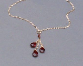 Red Garnet Necklace, Silver, Gold or Rose Gold Filled, Mozambique Garnet, January Birthstone